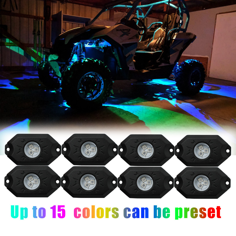 IZTOSS RGB LED Rock Lights Bluetooth Multicolor Neon LED Light Kit with 8 Pods Lights for Jeep Truck Car ATV SUV Vehicle Boat