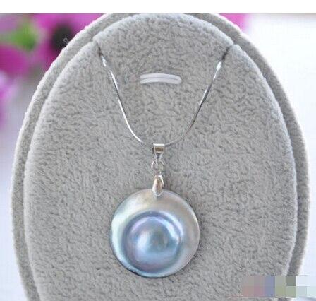P4162 réel 22 MM gris mer du sud MABE pendentif perle 925 chaîne en argent ^^^@^ Noble style fin naturel jewe de la livraison gratuite