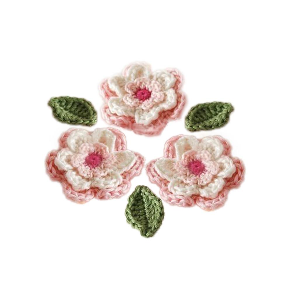 ≧Hecho a mano capas ganchillo flor y hoja tres capas algodón hilo ...