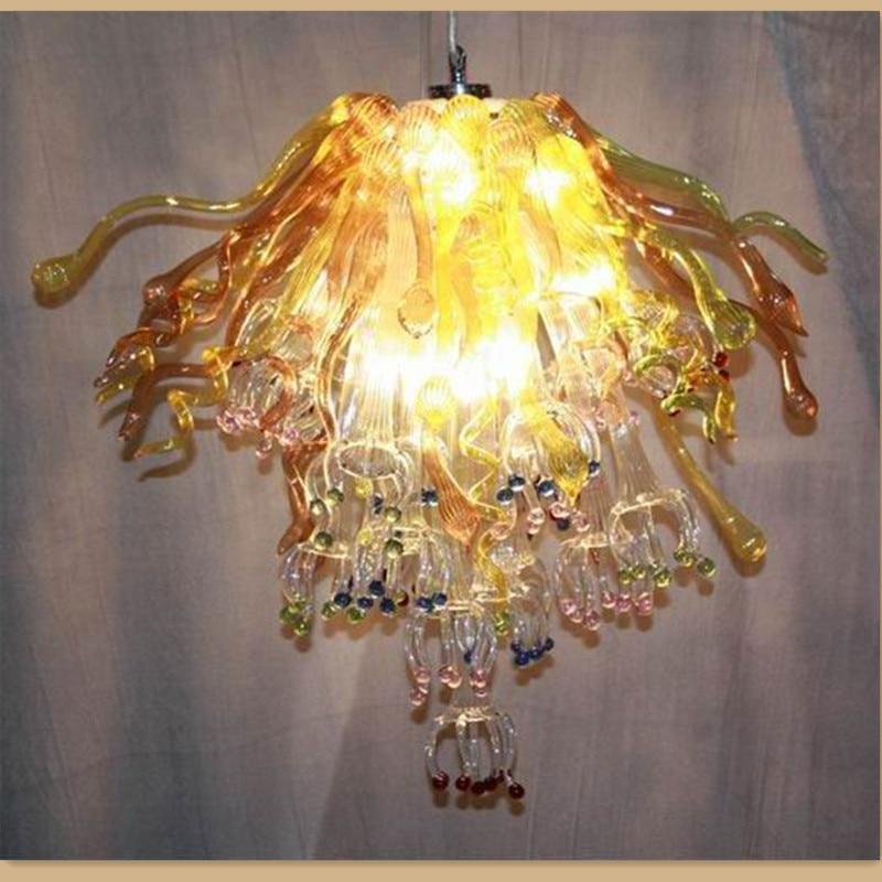 Unique Warm Yellow Blown Glass Chandelier Lightings Art Flower Lamps