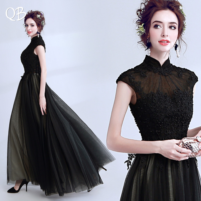 Black A-line High Neck Tulle Lace Pearls Vintage Formal   Evening     Dresses   2019 New Fashion Bride Party Prom   Dress   XK131
