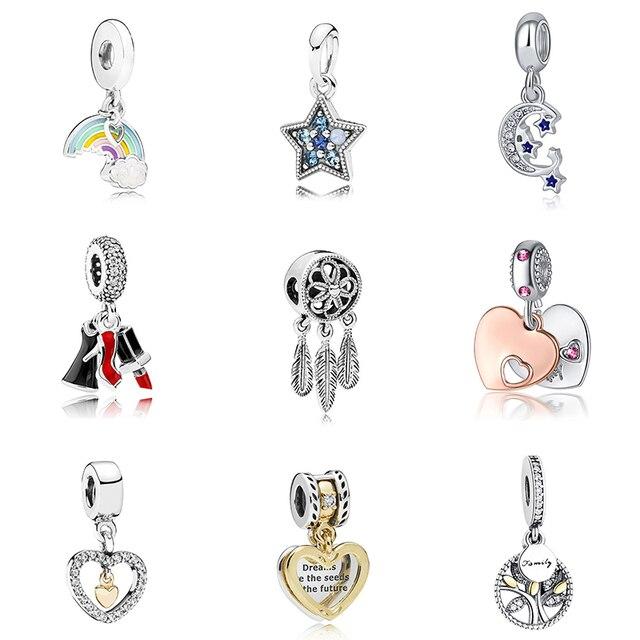925 Sliver Bead Rose Gold Enamal Pendant Dangle Charm Fit Pandora Bracelet Necklace DIY