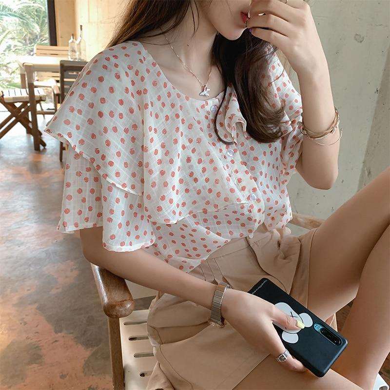 MISHOW Chiffon Blouse Women Summer 2019 Sweety Female Shirt Short Sleeve Ruffle Floral Printed Tops MX19B4437