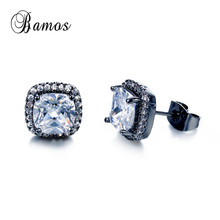 Bamos Bridal Shining White Zircon Stud Earrings For Women Hi