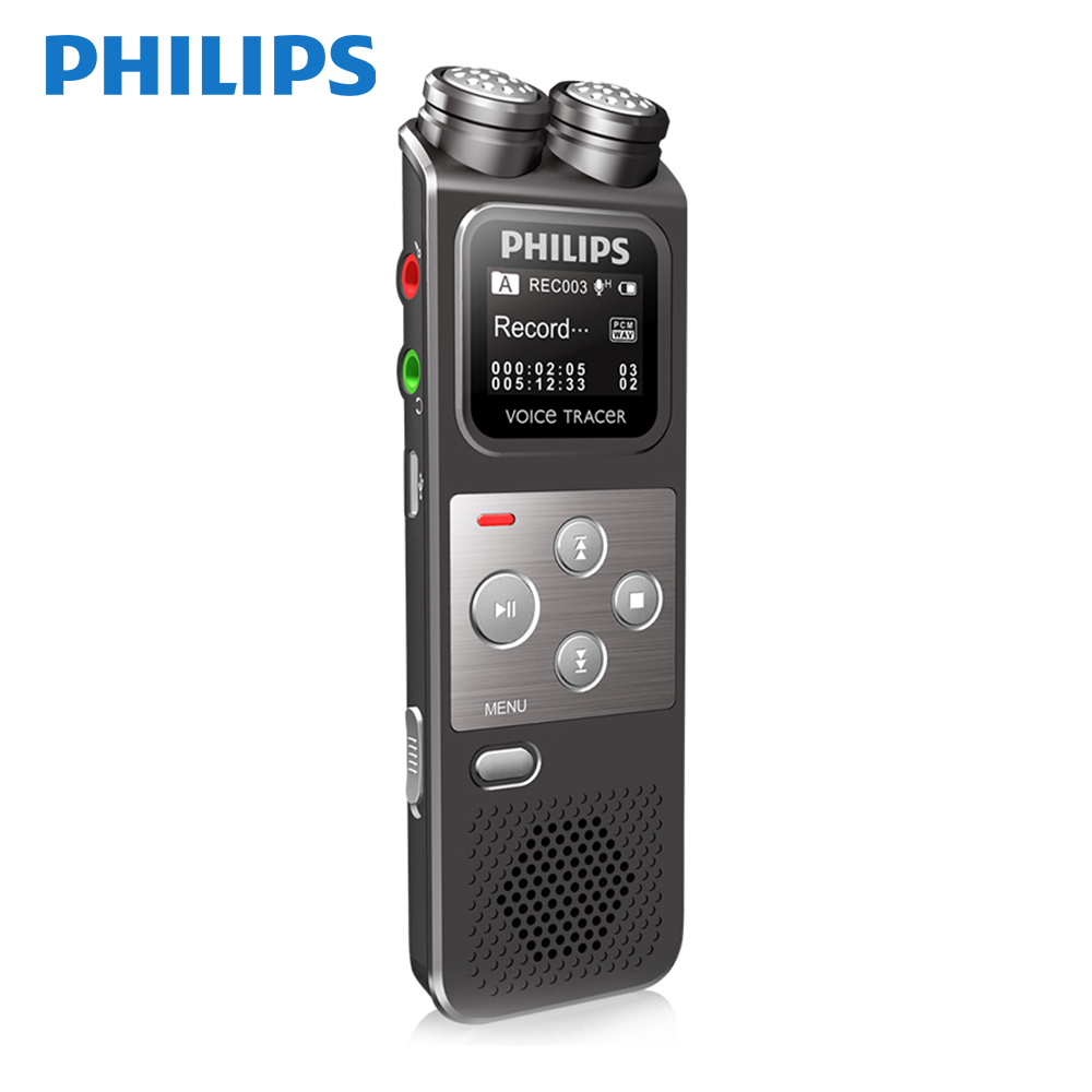 PHILIPS Newest Dual Mic Digital Voice Recorder with FM Function supporting AB Repeat for Reporter VTR6900