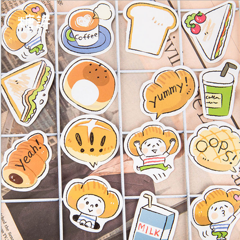 Купить с кэшбэком 45Pcs/box Bread boy Paper Stickers Decoration DIY Scrapbook Notebook Album seal Sticker Stationery Kawaii Label Stickers