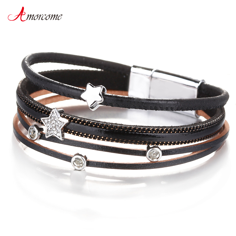 Amorcome 2019 Women Leather Bracelets Fashion Ladies Bohemian Stars Charm Wide Wrap Multilayer Bracelet Femme Jewelry Gift image