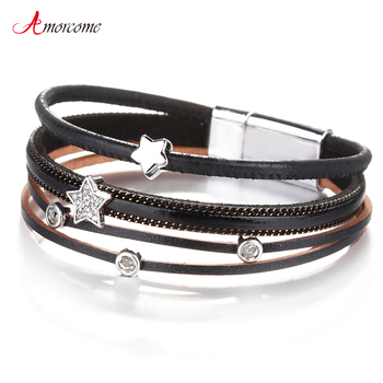 Amorcome Cute Leather Bracelets Fashion Ladies Bohemian Stars Charm Wide Wrap Multilayer Bracelet Femme Jewelry Gift amorcome metal feather genuine leather bracelet for women jewelry fashion multilayer bohemian charm wide bracelets