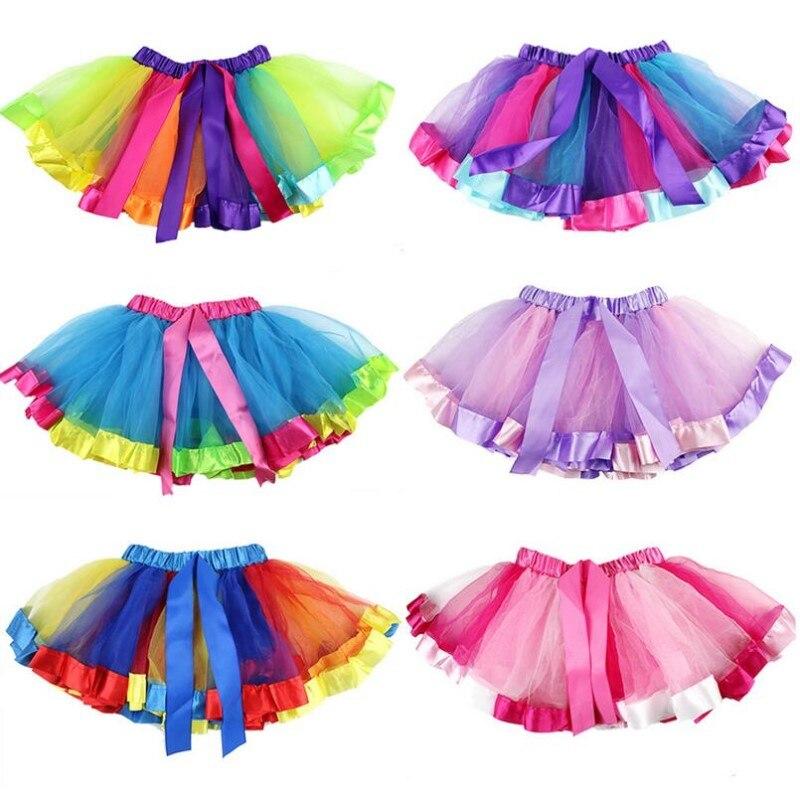 Kids Lovely Handmade Colorful Tutu Skirt Girls Rainbow Tulle Tutu Mini Dress Dance Bubble Skirt 1-9T