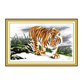 14/16/18/27/28 Tiger Cross Stitch Kit, Animal King Tiger Pattern Handmade Sewing Kit China Special Sewing Embroidery image