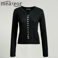 Meaneor Women Sweater Tops Female Cardigan Casual Autumn Long Sleeve Solid Slim Button Down Soft Knit