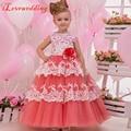 2016 Coral Vestidos de Meninas de Flor para Vestidos De Casamento Sem Mangas Lace Vestido de Festa de Aniversário Da Menina vestido de Baile Pageant Custom Made