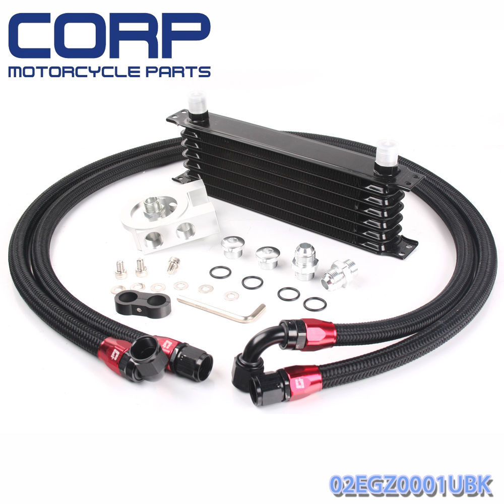 Universal 7 Row JDM Engine Oil Cooler Kit +Remote Oil Filter+ AN10 Oil Lines Kit