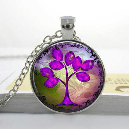 Wholesale Purple Tree Necklace Glass Art Picture Pendant Photo Pendant Handcrafted Jewelry