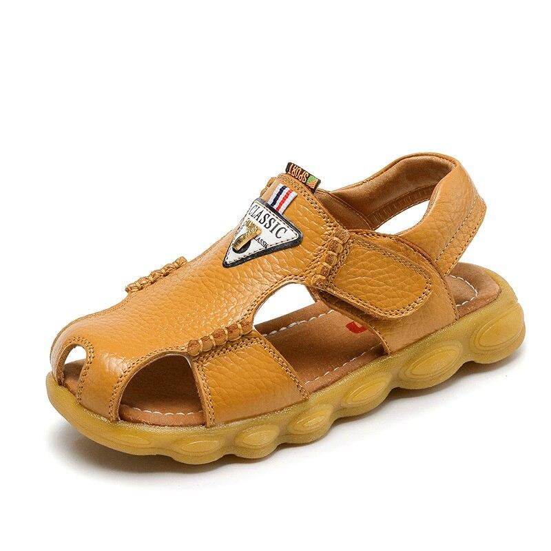 Kids Shoes Boys Sandals 2018 Summer Fashion Closed Toe Casual Beach Shoes Genuine Leather Children Sandals Boys Shoes EU 23-37