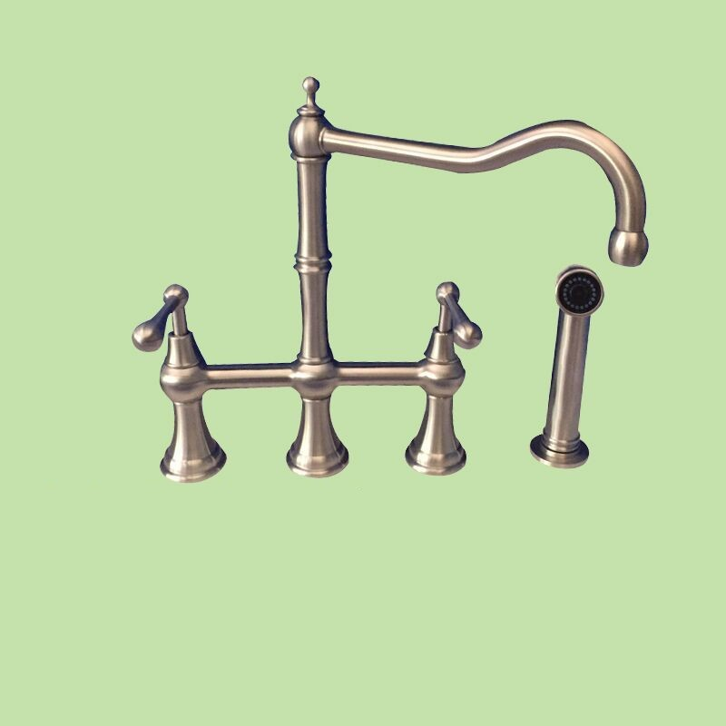 Brushed brass kitchen faucet classic 2 handle 4 holes sink faucet Cold and hot water tap North America faucet with sprayer