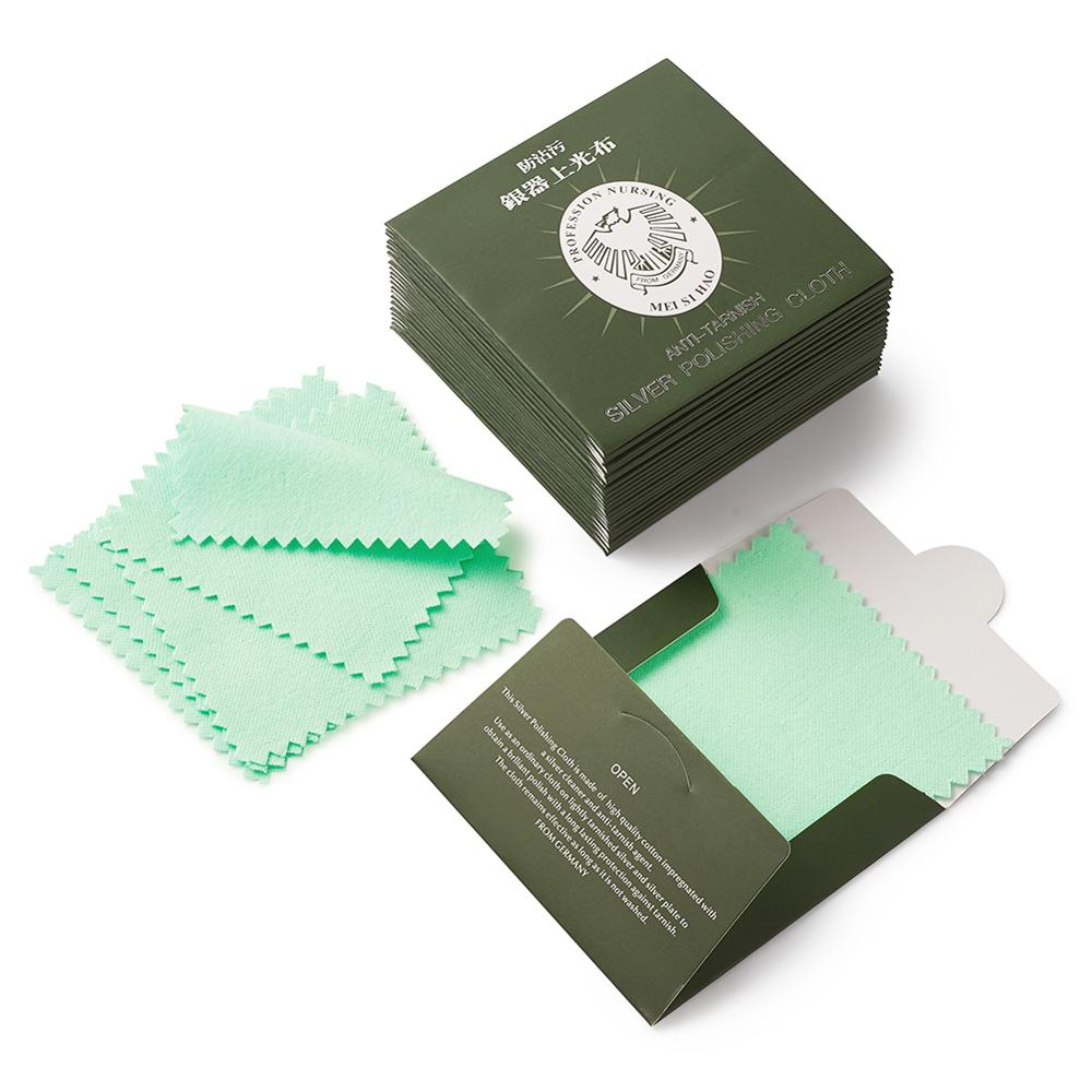 Green 5 Pieces Silver Polishing Cleaner Cleaning Cloth Anti-Tarnish Tool