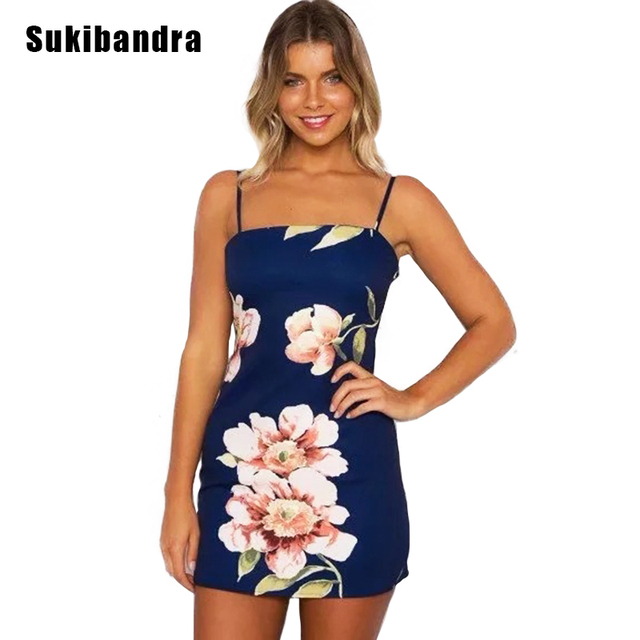 9ed4a7cb68d7 Sukibandra Summer Vintage Floral Print Short Mini Dress Navy Blue Boho  Spaghetti Strap Dress Women Bohemian