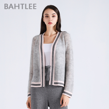 цена на BAHTLEE spring autumn Women's Mohair  Coat Knitted Cardigan sweater  V-neck Long Sleeves wool thin light loose