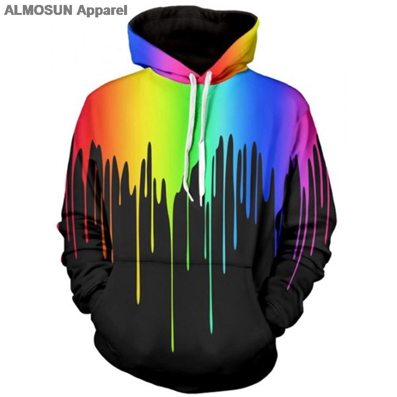 e8e5291cd ALMOSUN Paint Dripping 3D All Over Printed Hoodies Pockets Sweatshirt  Hipster Hip Hop Casual Street Wear Men Women US Size