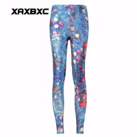 XAXBXC 3379 Sexy Girl Pencil Pants Christmas Tree Santa Claus Gift Printed Elastic Slim Fitness Workout