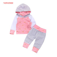 YOYOXIU 2 Piece Set Baby Girl Clothes Polka Dot Pink Hooded Tops And Pants Suits Spring