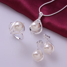 925 sterling silver jewelry,925 silver fashion jewelry Crystal pearl necklace&earrings&ring jewelry sets for women SS733(China)