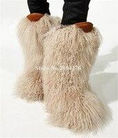 Зима Лидер продаж Для женщин мода длинный Лисий мех плоские зимние черно бежевые ботинки с густым мехом теплые полусапожки Сапоги без засте