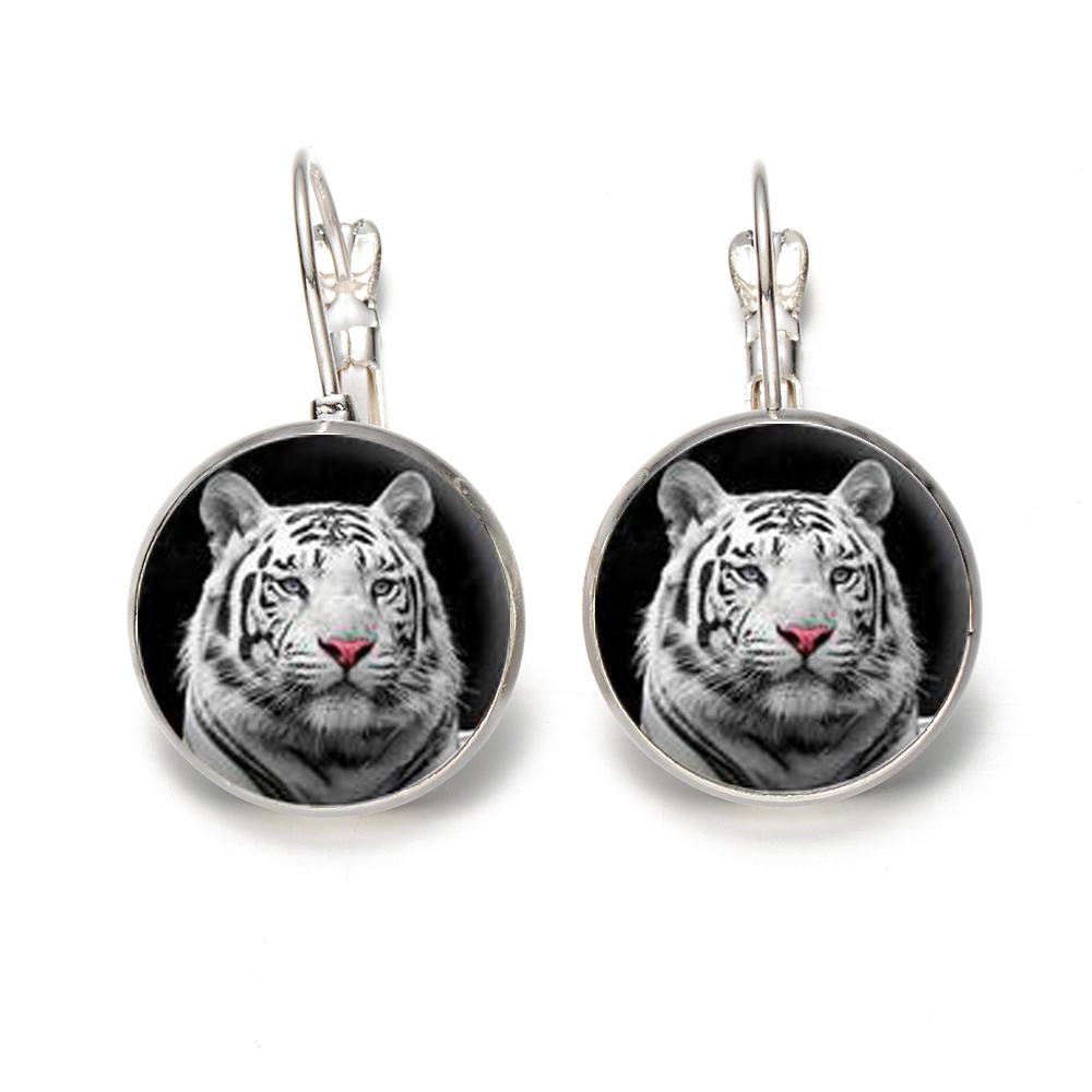 Retro Popularity King Of Tiger Glass Cabochon Stud Silver & Bronze Time Gem Individual Womens Alloy Jewelery