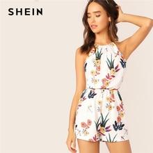 SHEIN Elastic Waist Floral Print Halter Romper 2019 Casual White Short Summer Sleeveless Tank Mid Waist Straight Leg Playsuit