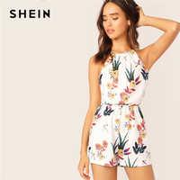 Shein cintura elástica floral print halter macacão 2019 casual branco curto verão sem mangas tanque meados da cintura em linha reta perna playsuit