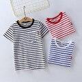 Crianças Verão Camiseta Listrada Imprimir 100% Algodão de Manga Curta Camiseta para Meninas Meninos Crianças Roupas de Estilo Navy