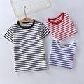 Niños Camiseta Del Verano Camisa de Estampado de Rayas 100% Algodón de Manga Corta Camiseta para Las Niñas Niños Ropa de Los Niños del Estilo Navy
