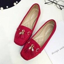 Women's Square Toe Tassel CC Sequined European American Style Lady Flock Big size 34-41 Flat Loafer Shoes OL Flattie Slip-On Red