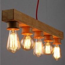 Lámpara de techo de madera restaurante café bar comedor cocina ligera caída