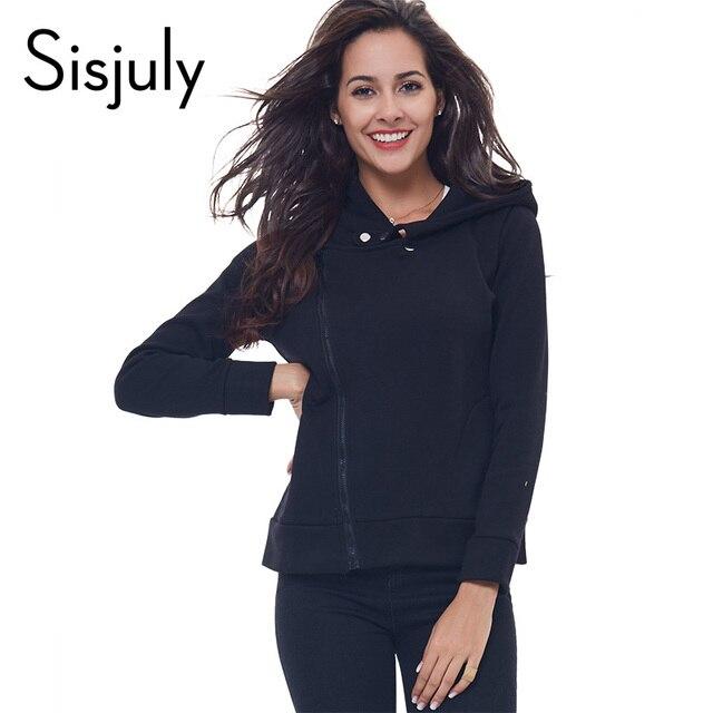 Sisjuly новая мода пальто с капюшоном с длинным рукавом толстовки стиль женщины куртка solid черный блудниц толстовка пальто на молнии