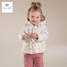 DB4260 дэйв белла зимних девочки белая утка пуховик девушки pink dots печатных пальто