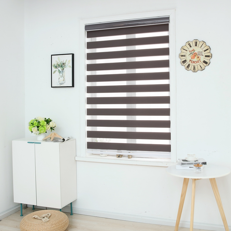 zebra blinds horizontal window shade double layer roller blinds window custom cut to size dark. Black Bedroom Furniture Sets. Home Design Ideas