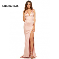 High waist slit sexy satin maxi dresses V neck evening party gowns pink blush long dress summer women elegant Robe De Soiree