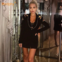 2019 spring new black suit windbreaker jacket winter long sleeve single buckle beaded sequin coat celebrity party club coat
