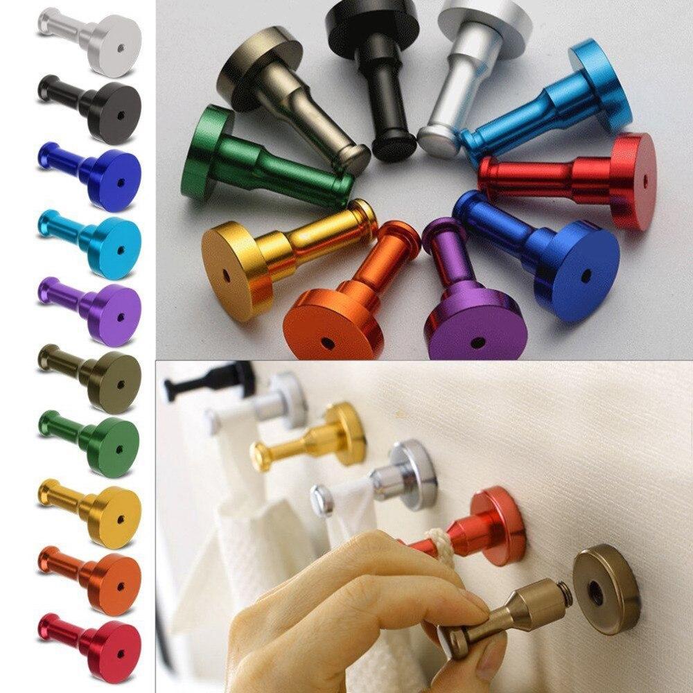 10 Colors Space Aluminum Multi-color DIY Towel Wall Hook Nail Bathroom Kitchen Clothes Key Hat Rack Bag Hanger Holder