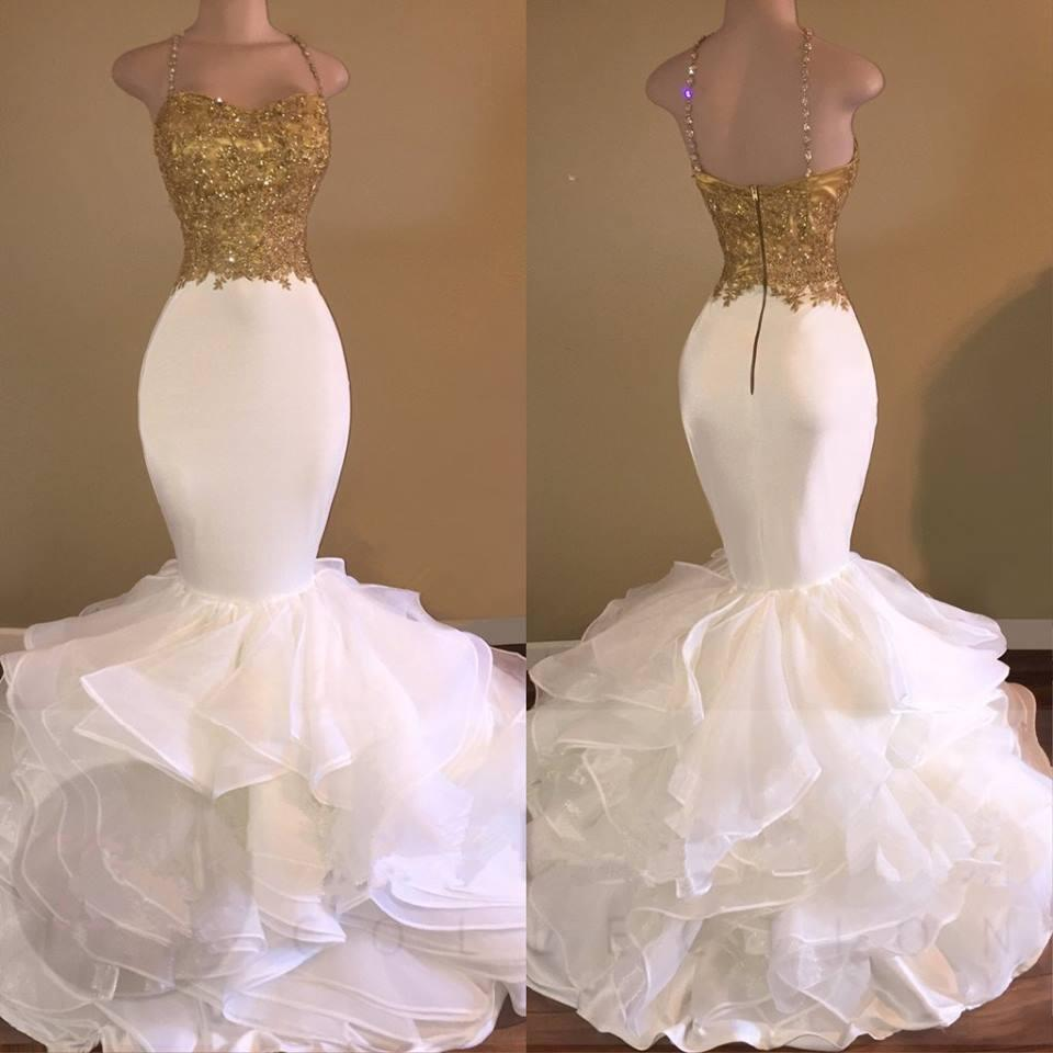 Sexy African White And Gold Prom Dresses Mermaid 2018 Spaghetti Strap Appliques Lace Ruffles Organza Backless Long Evening Dress