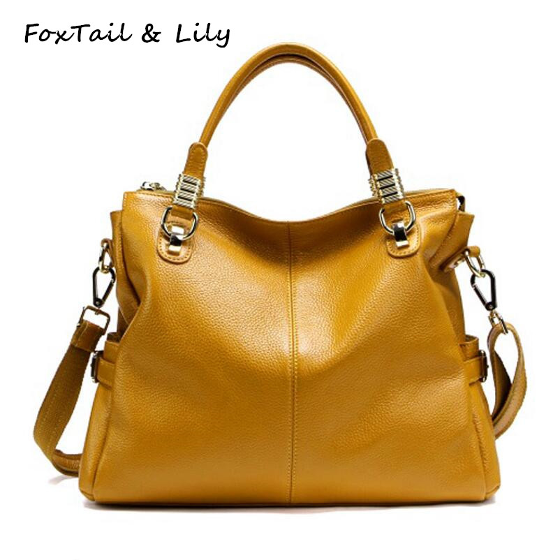 FoxTail & Lily Luxury Women Real Leather Handbags Famous Designer Genuine Leather Bag Fashion Ladies Shoulder Crossbody Bags