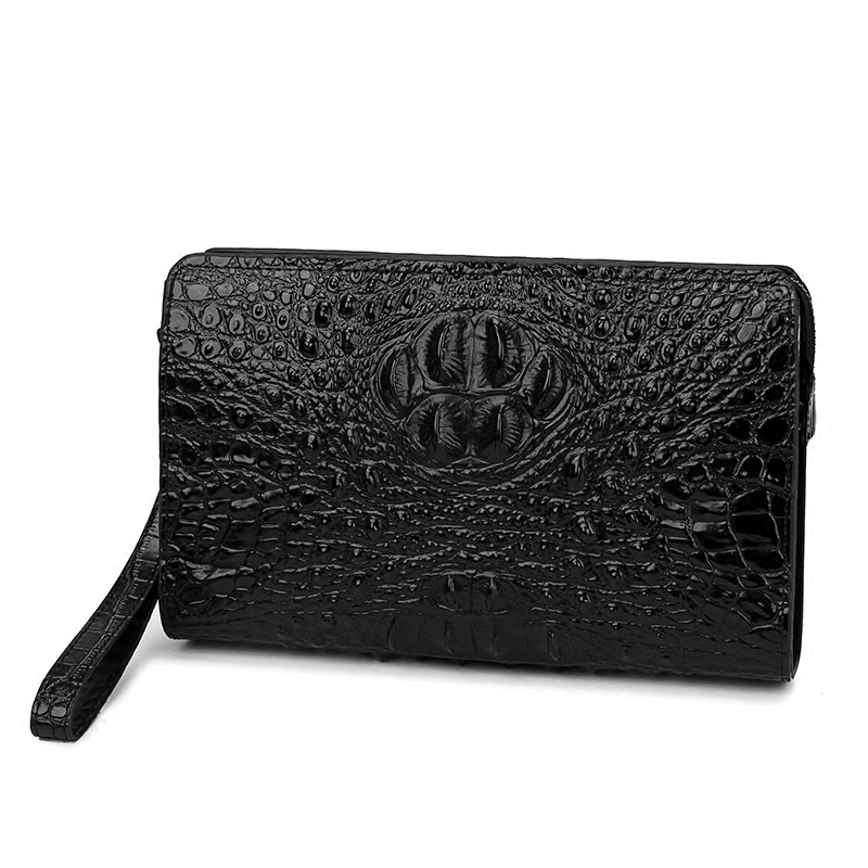 Crocodile pattern men s password with lock wallet genuine leather male wallet men clutches bag men