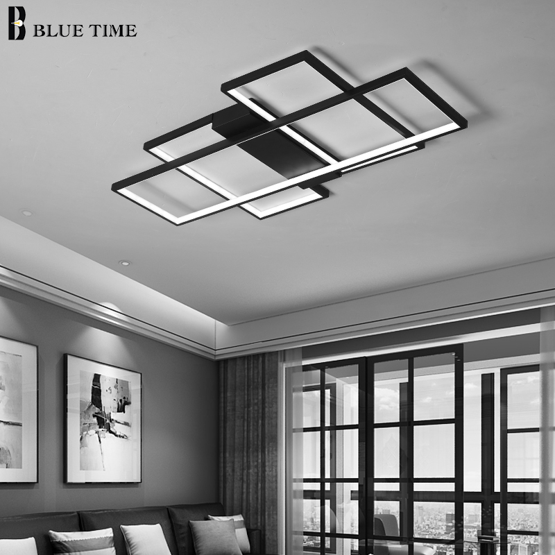 Image 5 - Black&White Body Modern LED Chandeliers For Living Room Bedroom Home Fixtures Led Ceiling Chandelier Lighting Lampara de techo-in Chandeliers from Lights & Lighting