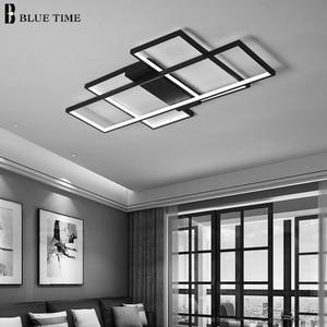 Image 5 - 블랙 & 화이트 현대 LED 샹들리에 거실 침실 홈 비품 Led 천장 샹들리에 실내 조명 Lampara de techo