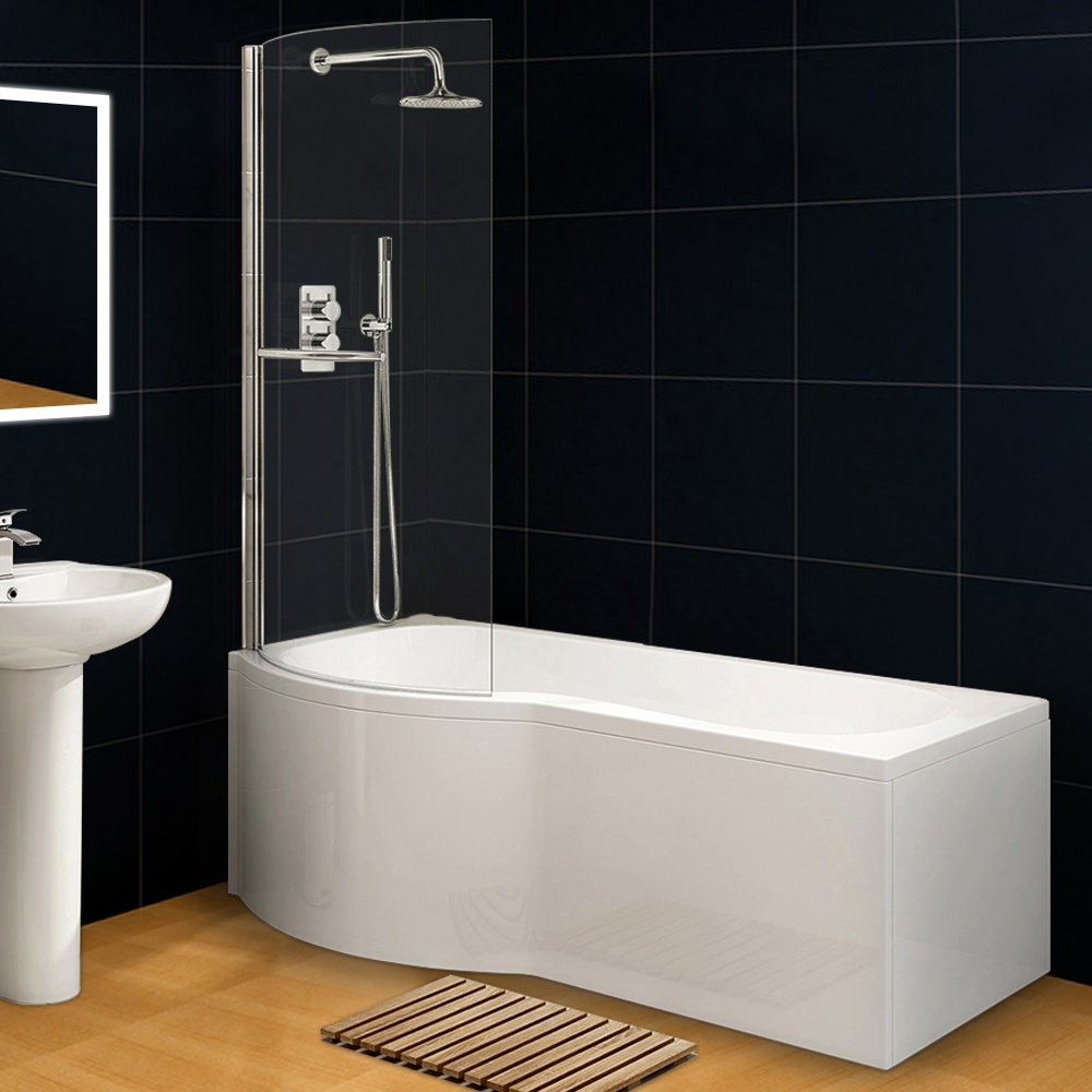 Curved P Shape L Hand Bath Wihte Acrylic Front Panel+End