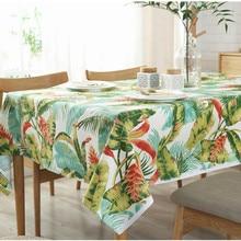 цена на Palm Leaves Tablecloths Nordic Plant Print Waterproof Table Cloth 100% Cotton Rectangular Dining Table Cloth Decorative Textile