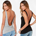 2016 Summer New Sexy Vest Open Back Backless Slim Tank Loose Top Stretch Party Tee Shirt Clubwear Blouse HOT SALE