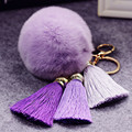 Fancy&Fantasy 100% REAL Rabbit Fur Ball Plush Fur Key Chain POM POM Keychain With 3 Fancy  Tassel Pompom Car Bag Keychain ZKTPP